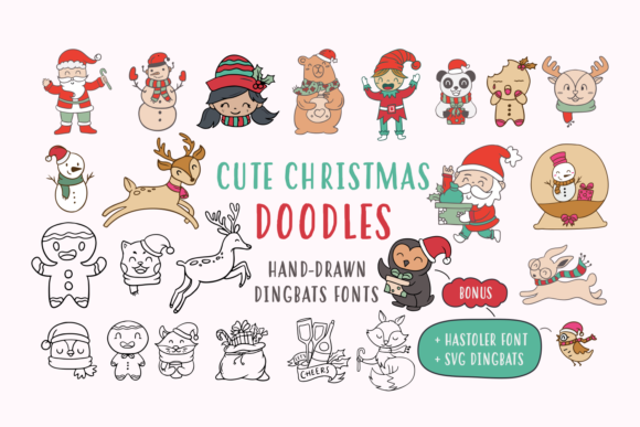 Print on Demand: Cute Christmas Doodles Dingbats Font By Situjuh