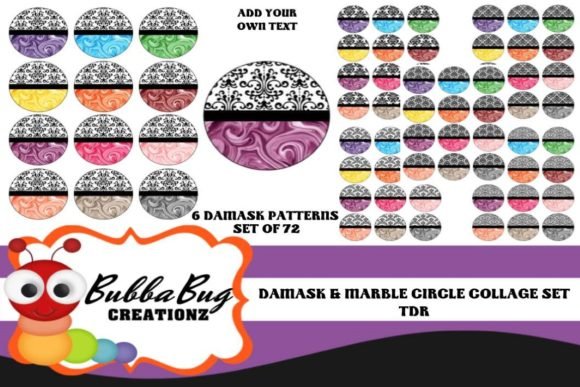 Damask with Marble Circle Collage Set Graphic Crafts By BUBBABUG - Image 1