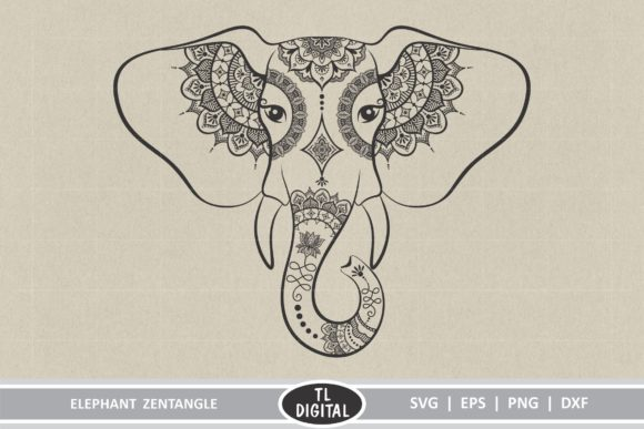 Elephant Zentangle Graphic Crafts By TL Digital
