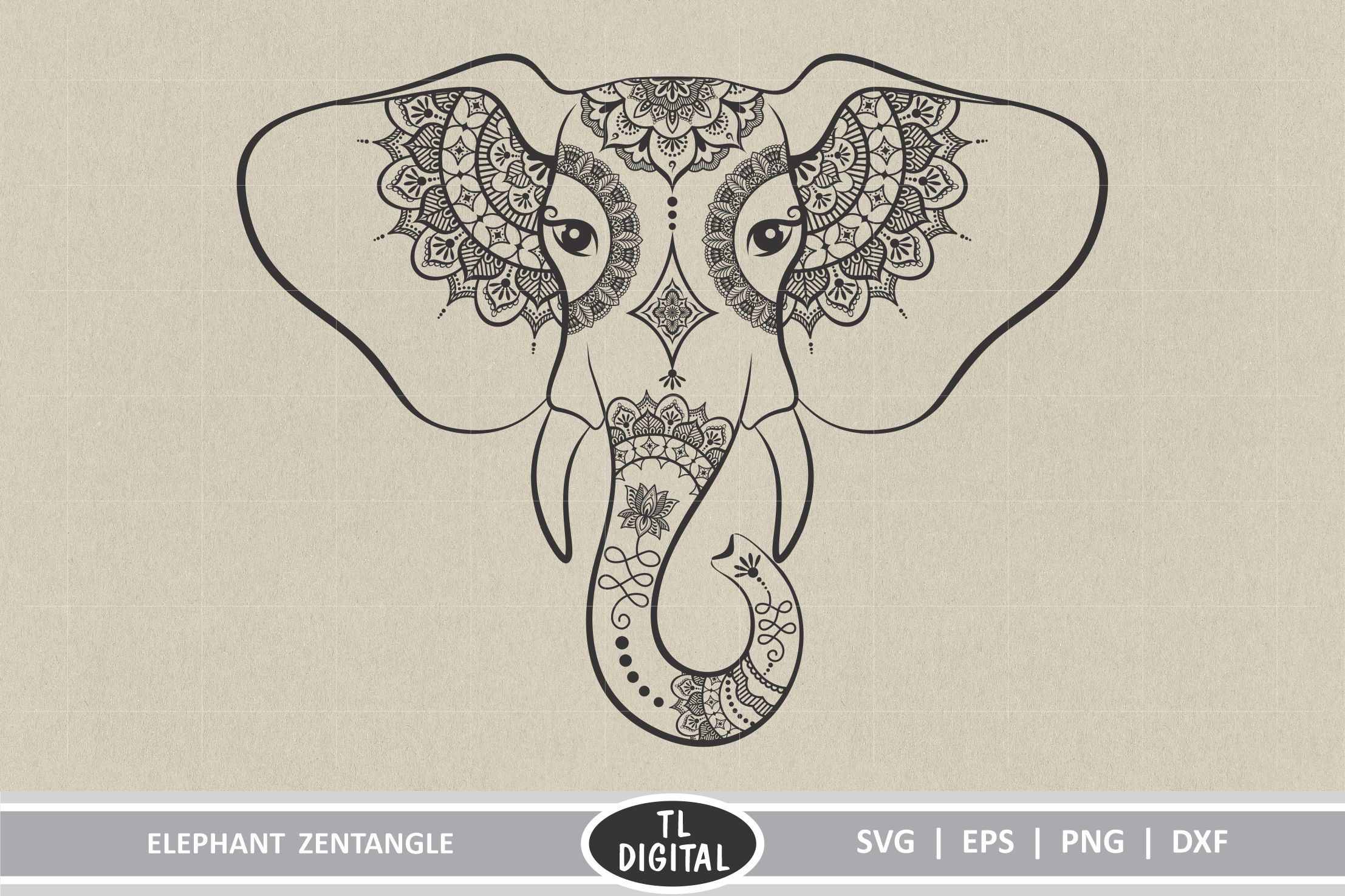 Download Free Elephant Zentangle Graphic By Tl Digital Creative Fabrica for Cricut Explore, Silhouette and other cutting machines.