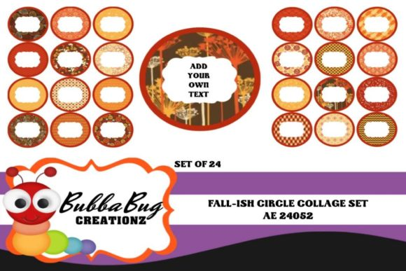Fall-ish Circle Collage Set Graphic Crafts By BUBBABUG