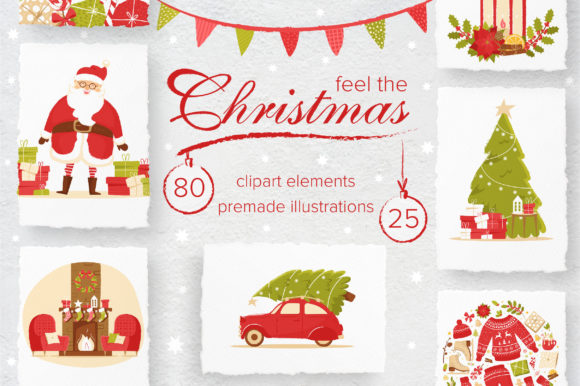 Print on Demand: Feel the Christmas Holiday Clipart Graphic Illustrations By KatiaZhe