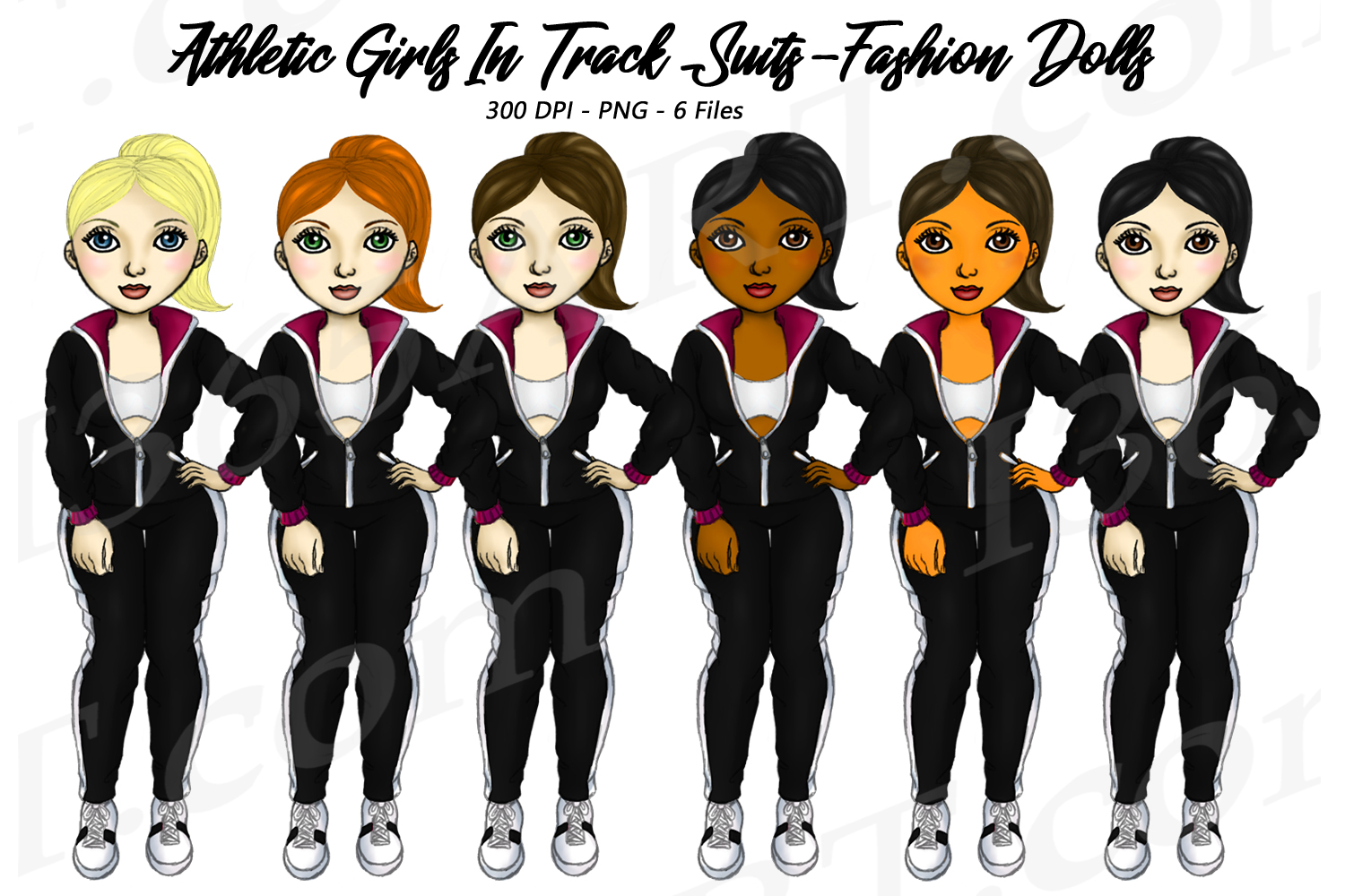Download Free Fitness Girls In Track Suits Clipart Graphic By Deanna Mcrae for Cricut Explore, Silhouette and other cutting machines.