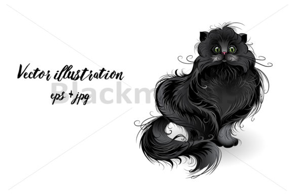 Fluffy Black Cat Graphic Illustrations By Blackmoon9