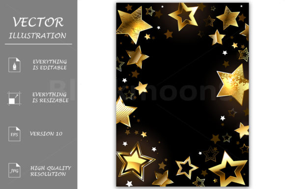 Frame with Gold Stars Graphic Backgrounds By Blackmoon9