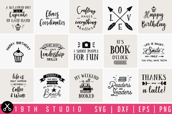 Download Free Fun Quotes Bundle Graphic By 19th Studio Svg Creative Fabrica for Cricut Explore, Silhouette and other cutting machines.