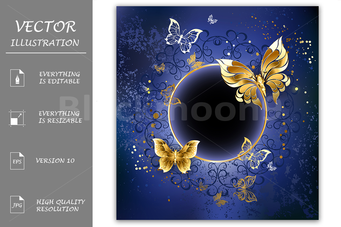 Gold Butterflies On A Blue Background Graphic By Blackmoon9