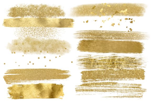 Print on Demand: Gold Glam Brush Strokes Png Clipart Graphic Illustrations By DigitalPencilMagic