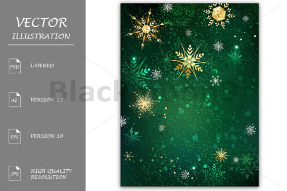 Gold Snowflakes on a Green Background Graphic Backgrounds By Blackmoon9