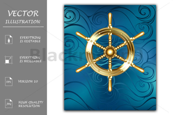 Golden Ship Wheel Graphic Illustrations By Blackmoon9
