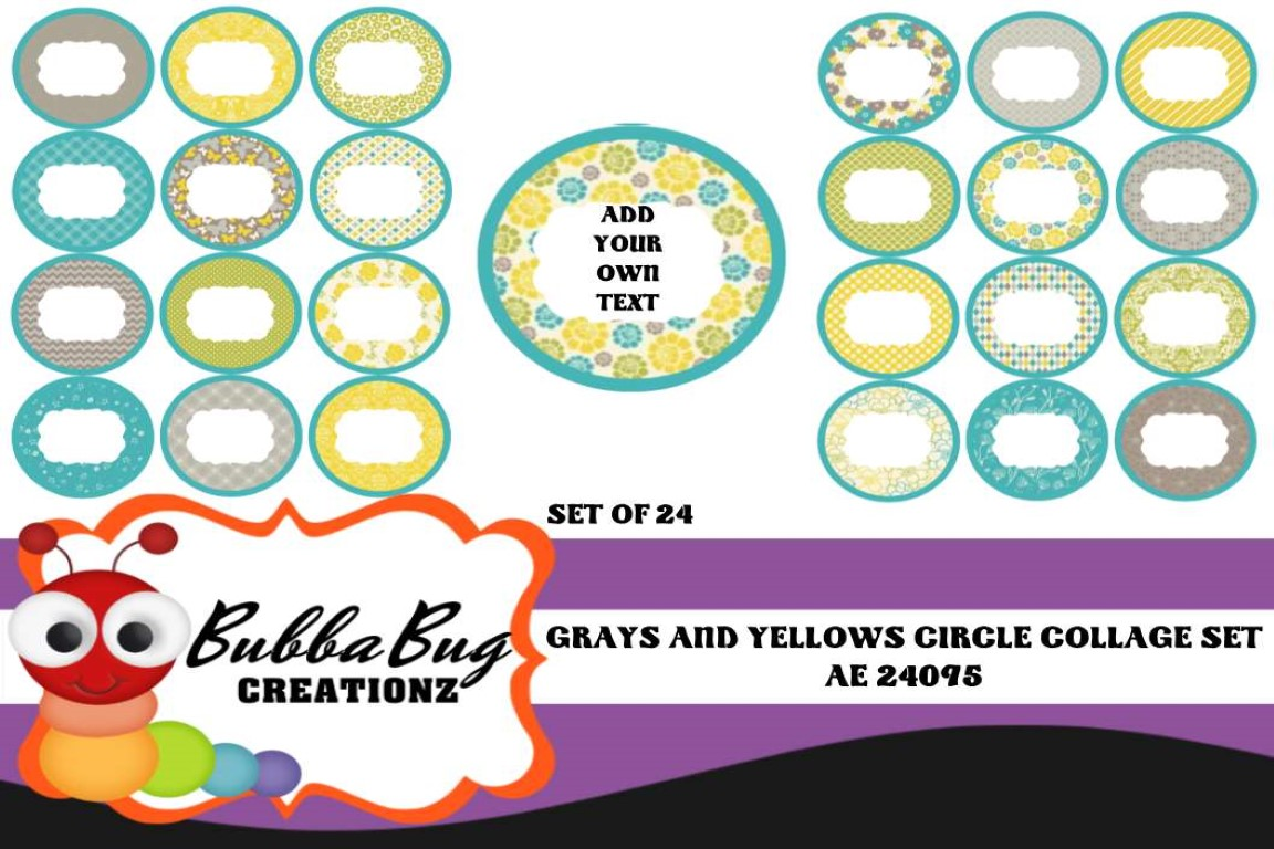Download Free Grays And Yellows Circle Collage Set Graphic By Bubbabug SVG Cut Files