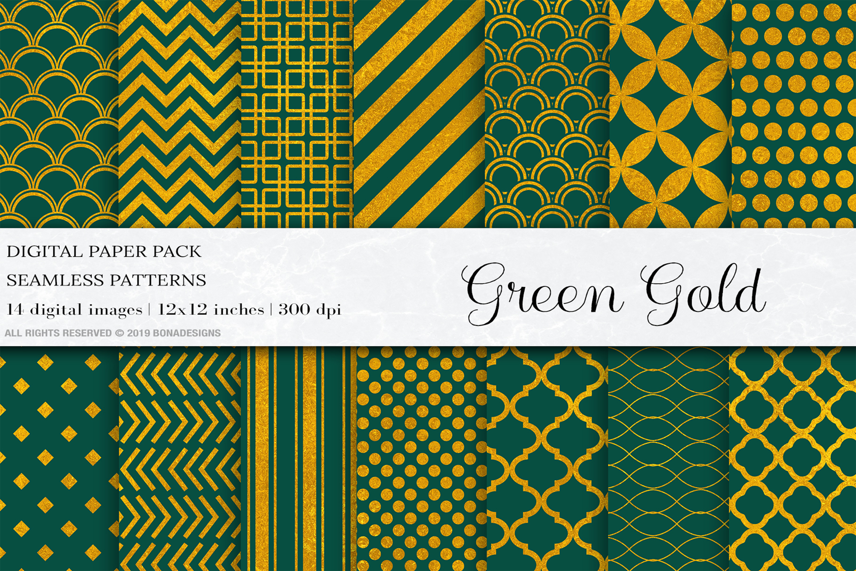 Download Free Green Gold Digital Papers Gold Patterns Graphic By Bonadesigns for Cricut Explore, Silhouette and other cutting machines.