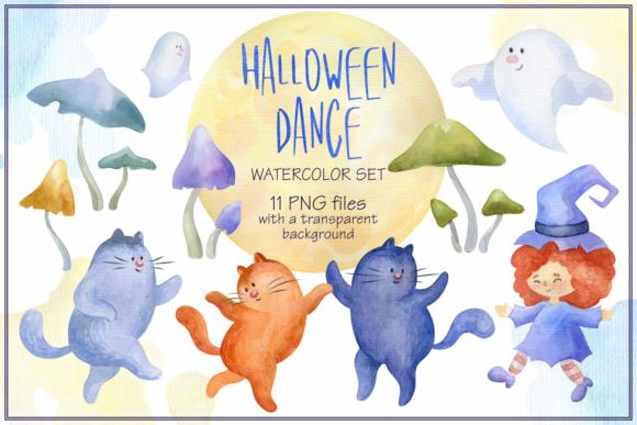 Print on Demand: Halloween Dance. Watercolor Set. Graphic Illustrations By Olga Belova