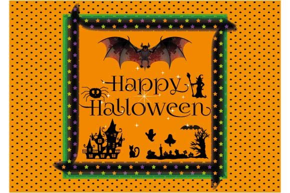 Download Free Happy Halloween Greeting Card Design Graphic By Graphicsfarm for Cricut Explore, Silhouette and other cutting machines.