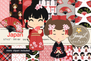 Japan Digital Papers and Clipart Graphic By jennyL_designs