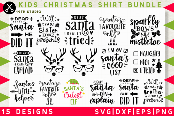 Download Free Kids Christmas Shirt Svg Bundle Graphic By 19th Studio Svg for Cricut Explore, Silhouette and other cutting machines.