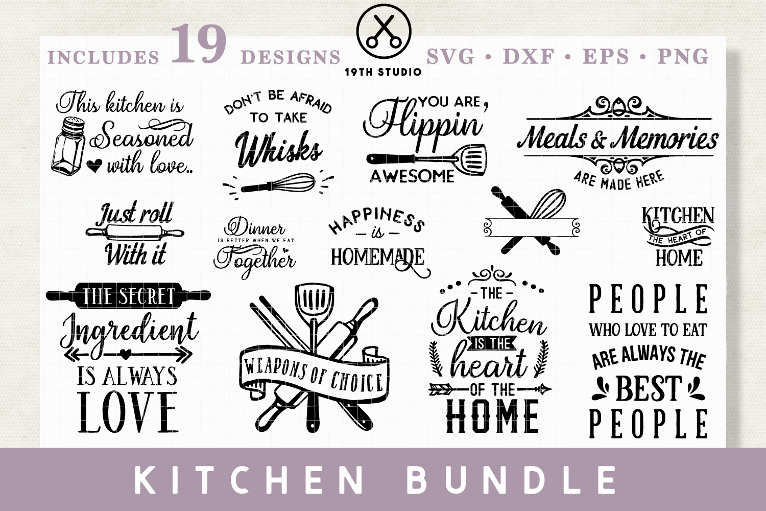 Download Free Kitchen Svg Bundle Grafico Por 19thstudio Com Creative Fabrica for Cricut Explore, Silhouette and other cutting machines.