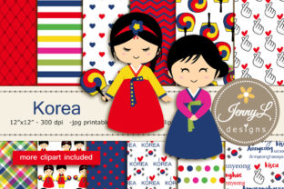 Korea Digital Papers and Clipart Graphic By jennyL_designs