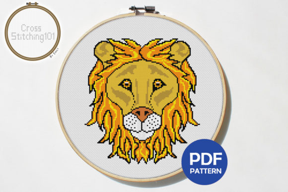 Download Free Lion Face Modern Cross Stitch Pattern Graphic By for Cricut Explore, Silhouette and other cutting machines.