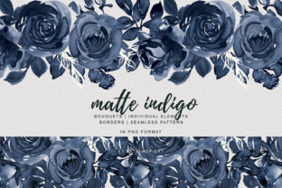 Matte Indigo Watercolor Rose Clipart Graphic By Patishop Art