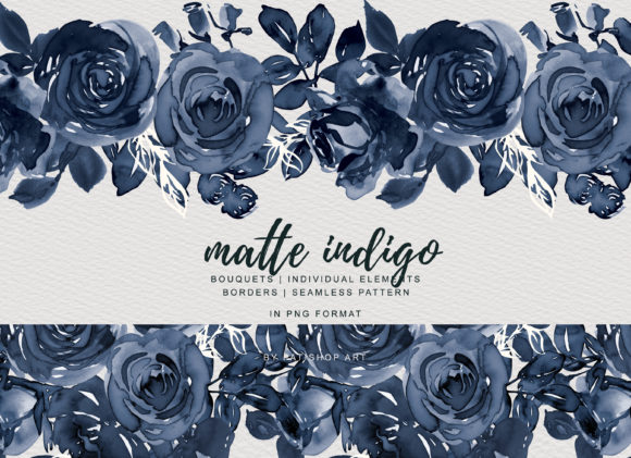 Matte Indigo Watercolor Rose Clipart Graphic Illustrations By Patishop Art