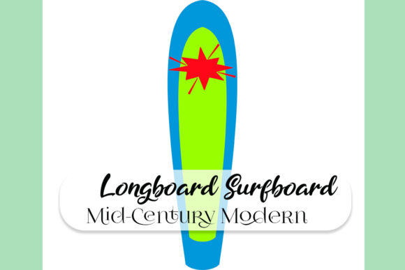 Mid-Century Longboard Surfboard Graphic Illustrations By SurfNostalgia