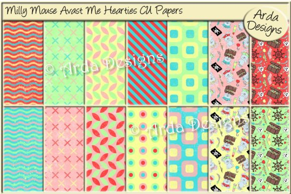 Print on Demand: Milly Mouse Avast Me Hearties CU Paper Graphic Patterns By Arda Designs
