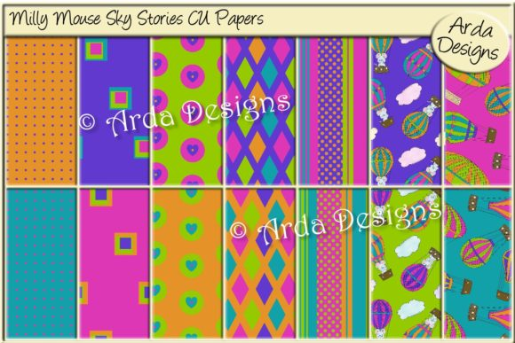 Print on Demand: Milly Mouse Sky Stories CU Papers Graphic Patterns By Arda Designs