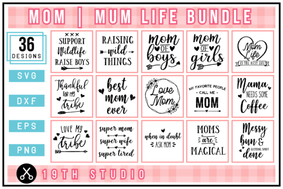 Mom SVG Bundle Graphic Crafts By 19thstudio.com