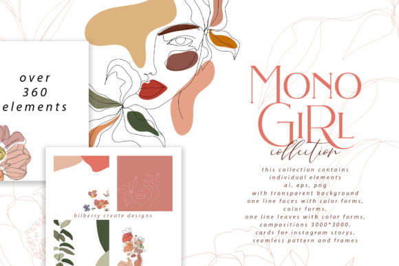 MonoGirl Collection Graphic Illustrations By BilberryCreate