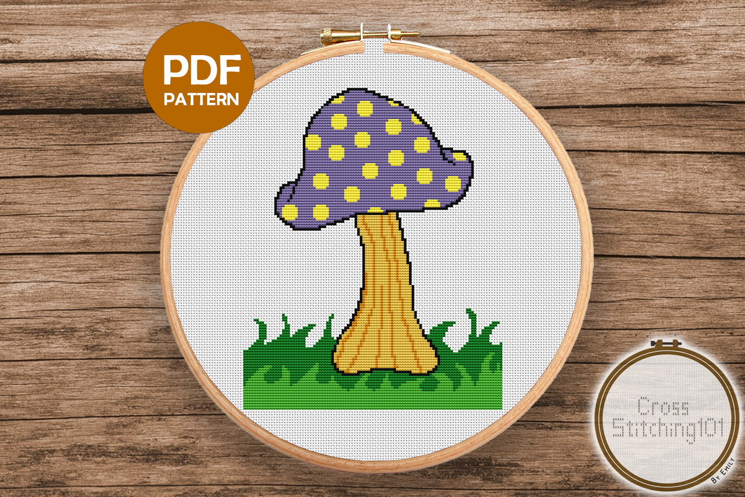 Download Free Mushroom On Grass Modern Cross Stitch Graphic By for Cricut Explore, Silhouette and other cutting machines.
