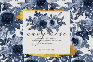 Navy Watercolor Rose Clipart Collection Graphic By Patishop Art