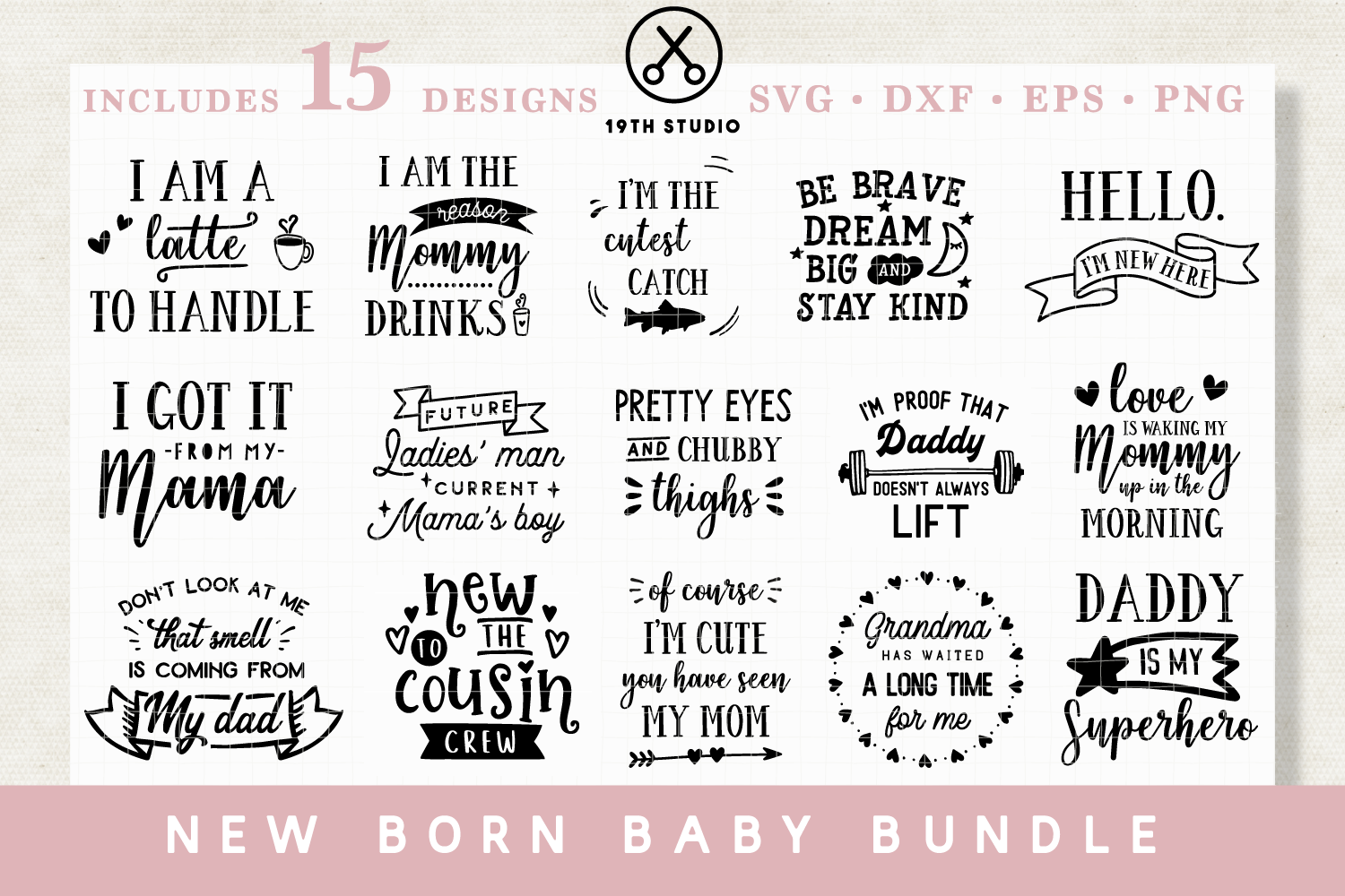 Download Free New Born Svg Bundle Graphic By 19th Studio Svg Creative Fabrica for Cricut Explore, Silhouette and other cutting machines.