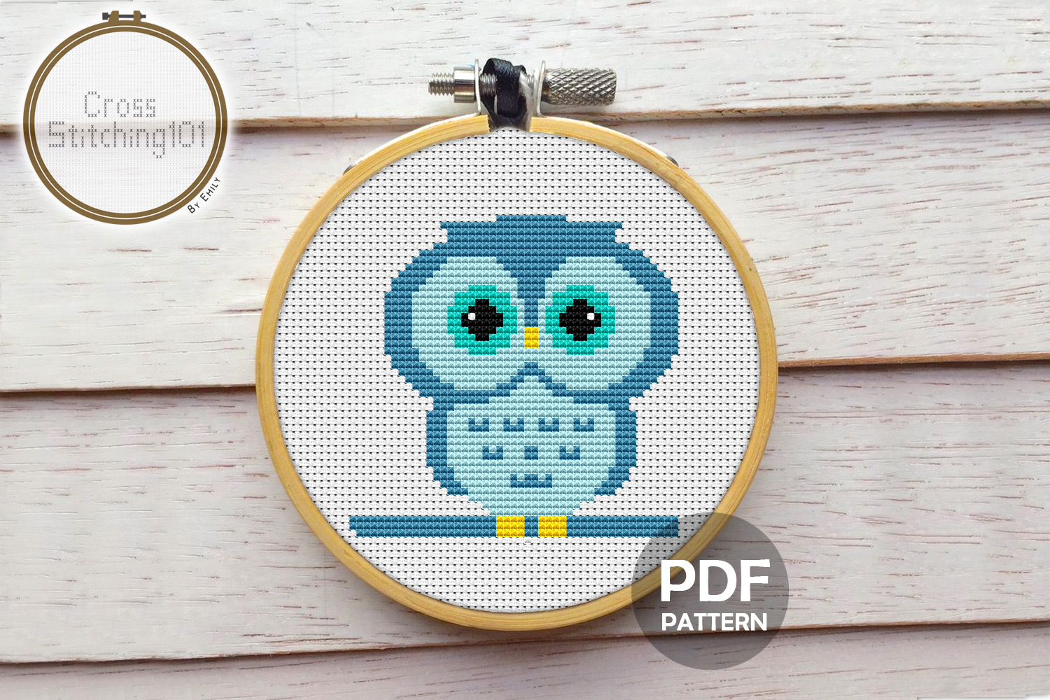 Download Free Owl Cartoon Modern Cross Stitch Pattern Graphic By for Cricut Explore, Silhouette and other cutting machines.