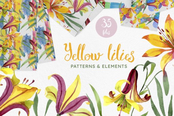 Print on Demand: PNG -Yellow Lily Flowers Watercolor Png Graphic Illustrations By MyStocks