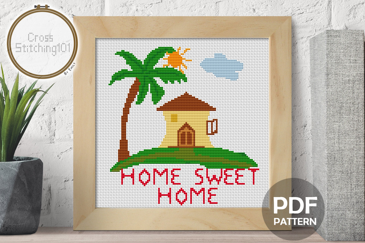 Download Free Palm Tree Home Sweet Home Cross Stitch Graphic By for Cricut Explore, Silhouette and other cutting machines.