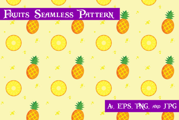 Print on Demand: Pineapple Fruits Seamless Pattern Graphic Patterns By purplespoonpirates