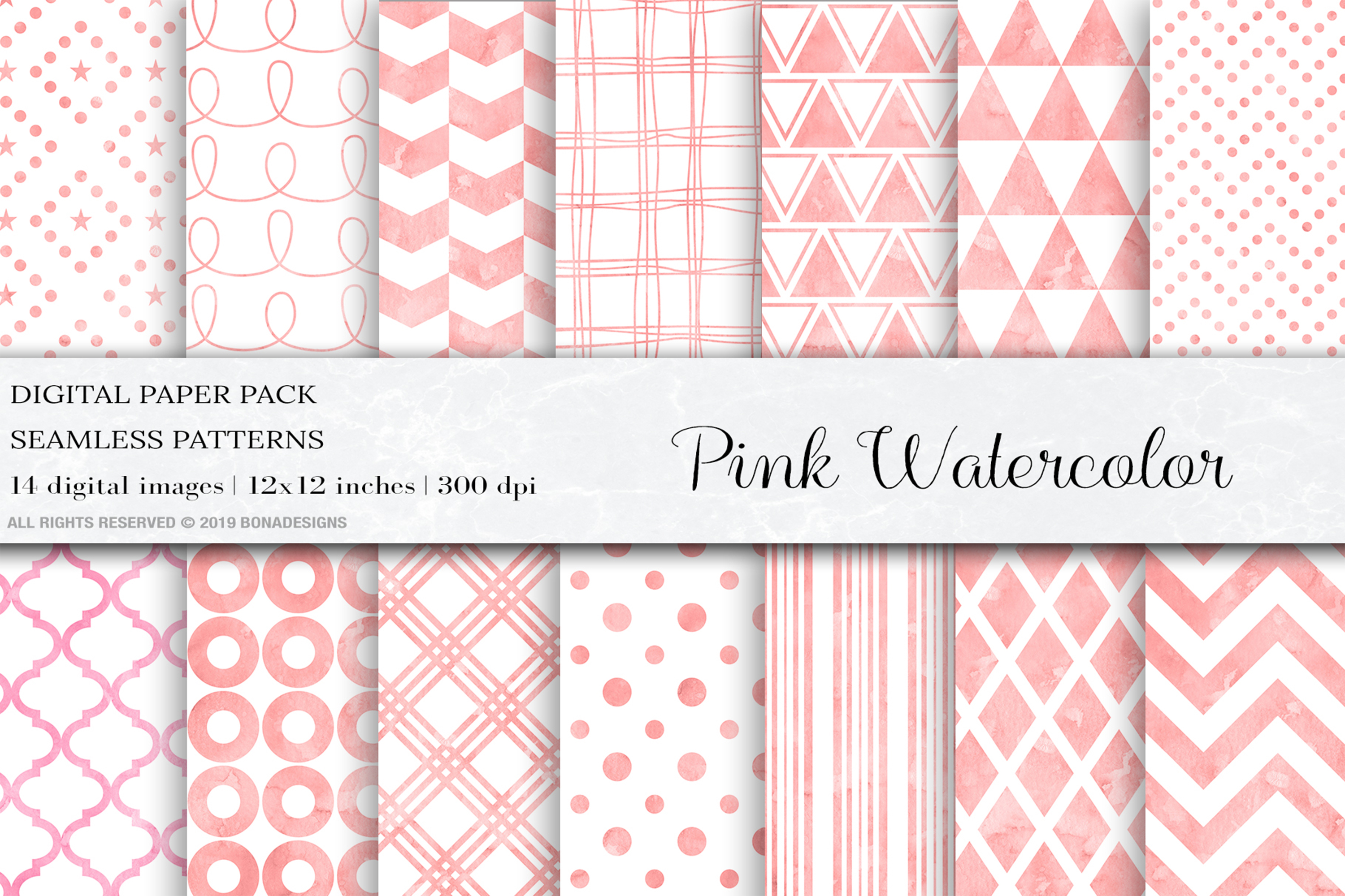 Download Free Pink Watercolor Digital Papers Patterns Graphic By Bonadesigns Creative Fabrica for Cricut Explore, Silhouette and other cutting machines.