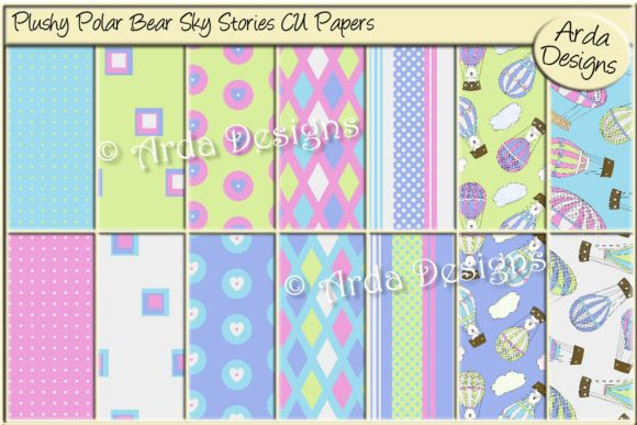 Print on Demand: Plushy Polar Bear Sky Stories CU Paper Graphic Patterns By Arda Designs