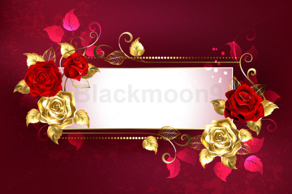 Rectangular Banner with Red Roses Graphic Illustrations By Blackmoon9