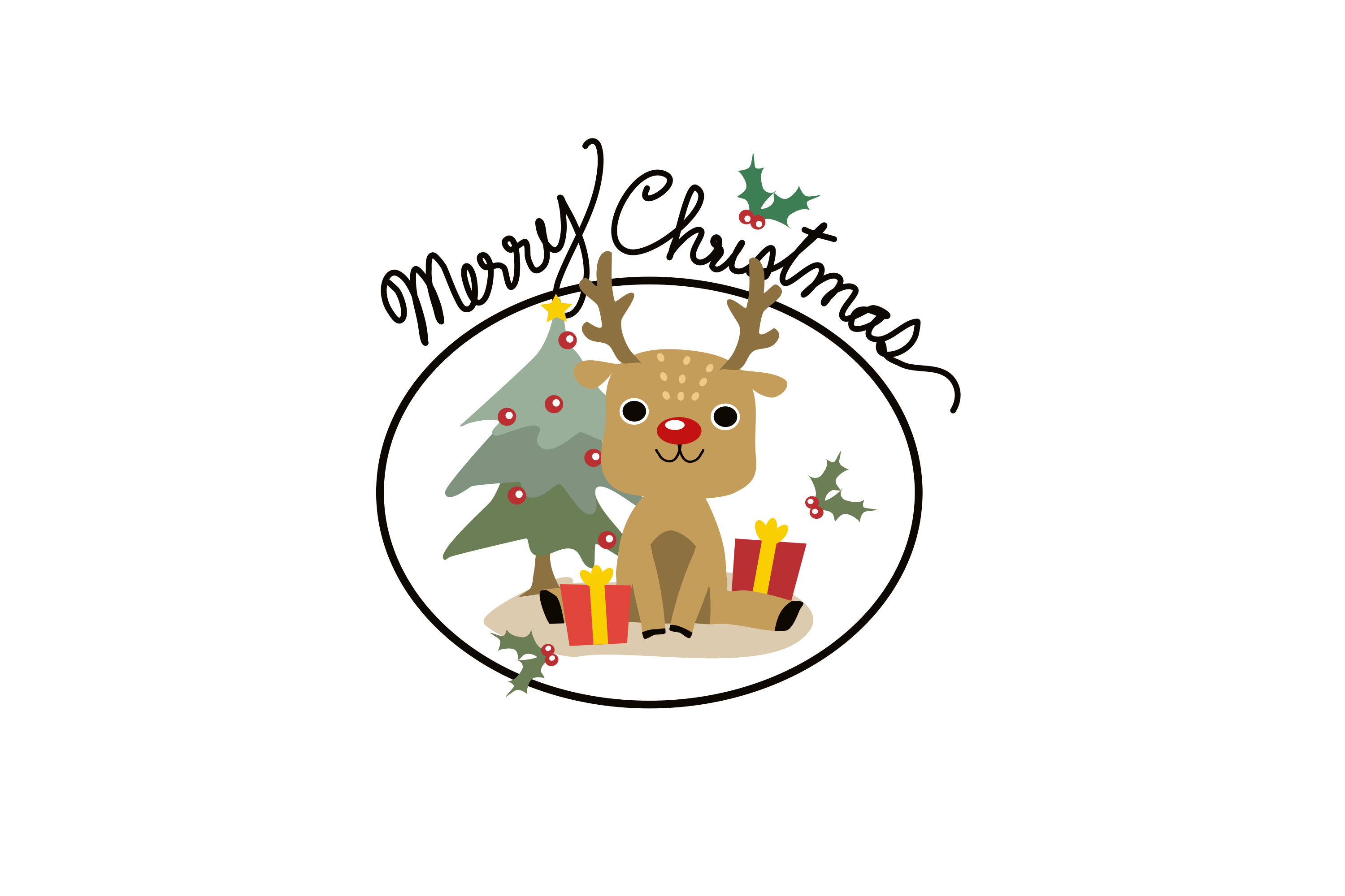Download Free Reindeer And Christmas Tree Graphic By Thanaporn Pinp Creative for Cricut Explore, Silhouette and other cutting machines.