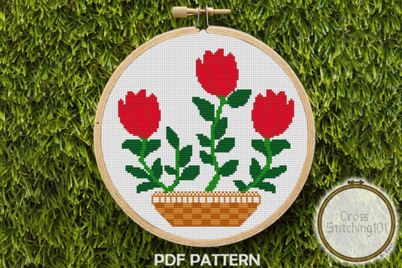 Download Free Rose Flower Pot Modern Cross Stitch Graphic By Crossstitching101 for Cricut Explore, Silhouette and other cutting machines.