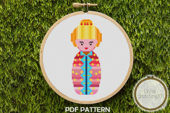Download Free Russian Doll Modern Cross Stitch Pattern Graphic By for Cricut Explore, Silhouette and other cutting machines.