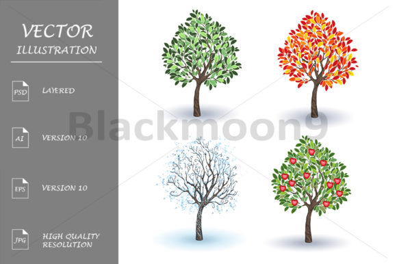 Set of Apple Trees Graphic Illustrations By Blackmoon9