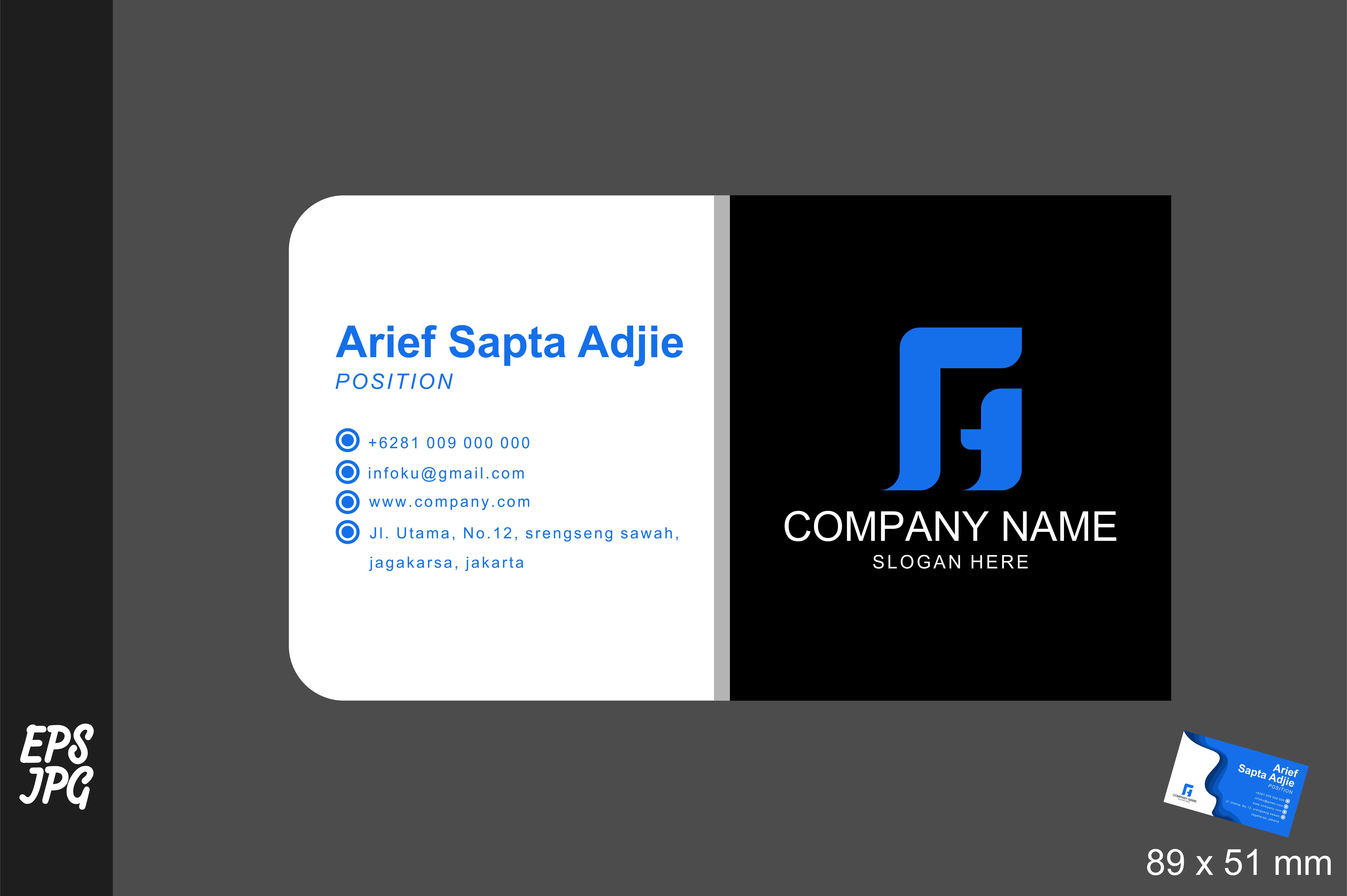 Download Free Simple Namecard Design Template Graphic By Arief Sapta Adjie for Cricut Explore, Silhouette and other cutting machines.