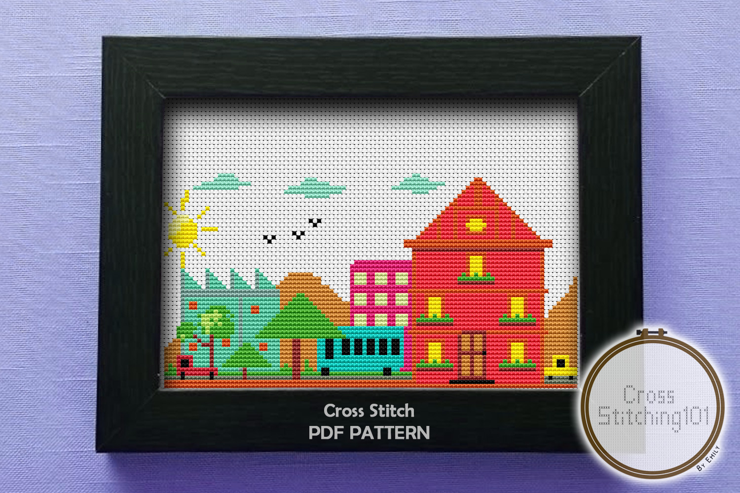 Download Free Smart City Modern Cross Stitch Pattern Graphic By for Cricut Explore, Silhouette and other cutting machines.