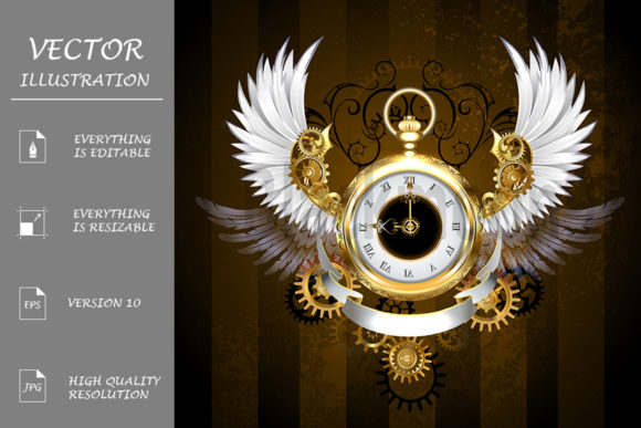 Steampunk Gold Watch with White Wings Graphic Illustrations By Blackmoon9