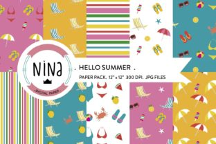 Download Free Summer Digital Paper Pack Graphic By Nina Prints Creative Fabrica for Cricut Explore, Silhouette and other cutting machines.