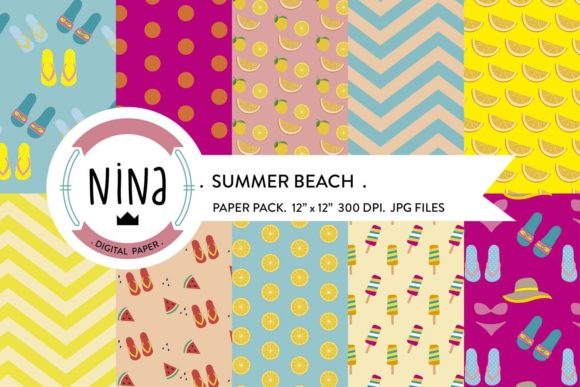 Summer Digital Paper Graphic Patterns By Nina Prints