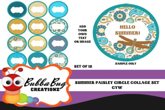 Summer Paisley Circle Collage Set Graphic Crafts By BUBBABUG
